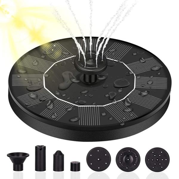 solfontän 4 munstycken fågelbad vattenpumpar soldriven fontän