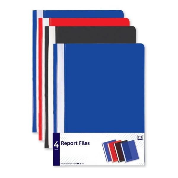 Anker Rapportera filer (paket med 4) A4 Blå / Röd / Svart