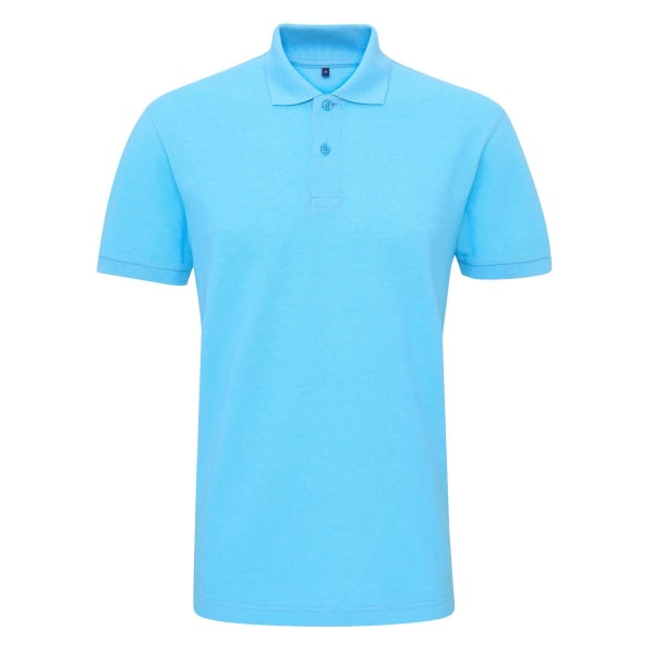 Asquith & Fox Mens Twisted Yarn Polo L Turkos Melange