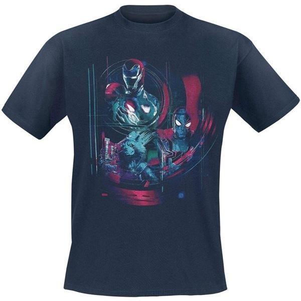 Avengers Unisex Vuxna Iron Spidey Group Design T-shirt S Marin