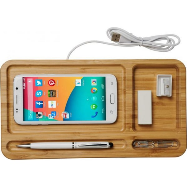 Avenue Frame Wireless Charging Desk Organizer One Size Trä