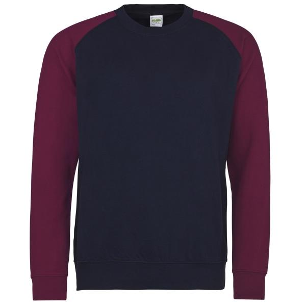 Awdis Tvåfärgad baseballtröja för herrar XL Oxford Navy / Bourgo
