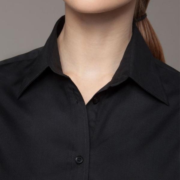 BARGEAR ® Damer Mock Turn Back Cuffs Bar Shirt 16 Svart