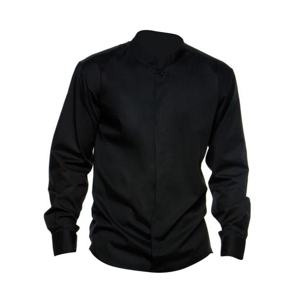BARGEAR ® Herrskjorta med långärmad mandarin krage / skjorta för