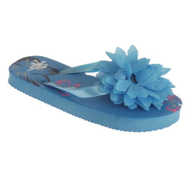 Barnflickor Floral Hawaiian flip-flops med 3D-blomma 9-10 Child