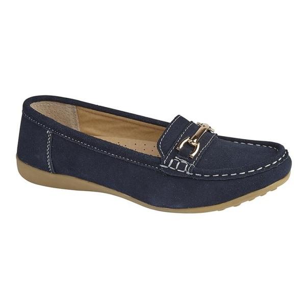 Boulevard Dam / Damer Gilt Bar Trim Casual Slip On Shoes 6 UK Ma Navy 6 UK
