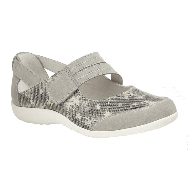 Boulevard Dam / Damer Touch Fastening EEE Fit Bar Suede Floral S Grey 3 UK