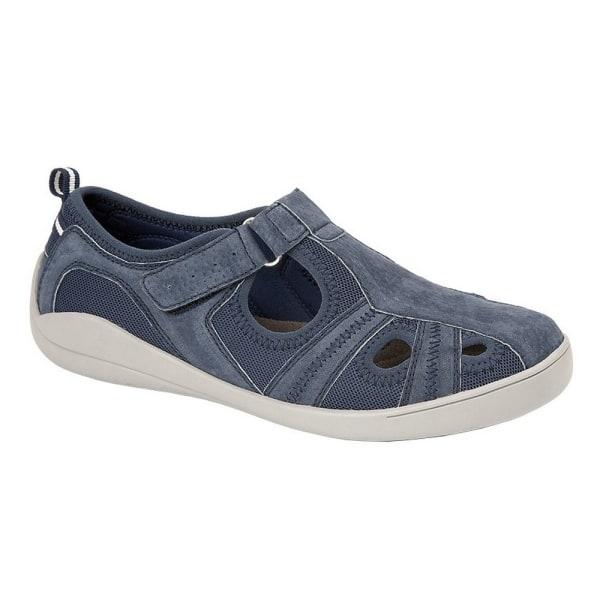 Boulevard Dam / läder / textil casual skor 5 UK Marin