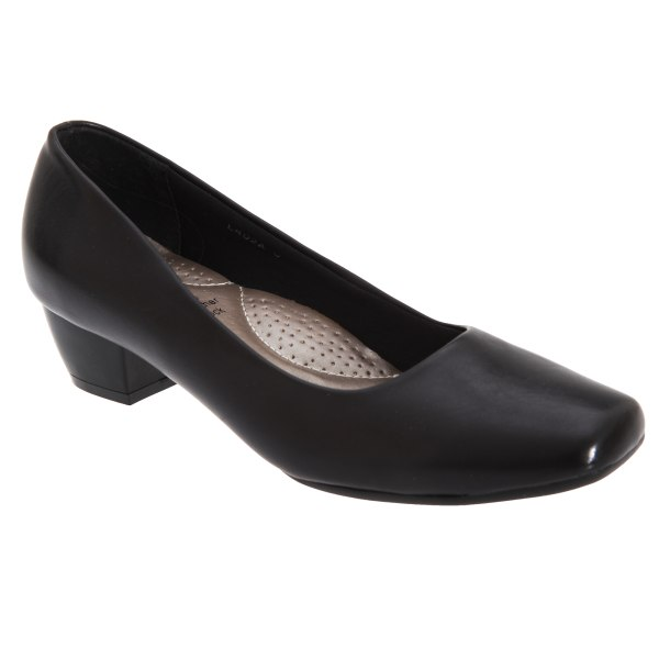 Boulevard Womens / Ladies Low Heel Plain Court Shoes 7 UK Svart