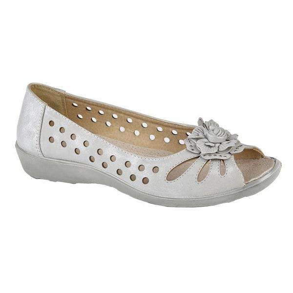 Boulevard Kvinnor / damer blomma stansade öppna tå skor 4 UK Lju Light Silver Shimmer 4 UK