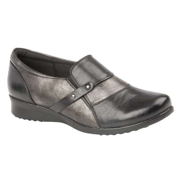 Boulevard Kvinnor / damer glider på komfort vadderade skor 8 UK Black/Pewter 8 UK