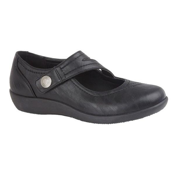 Boulevard Kvinnor / damer X bred EE Fit Touch Fastening Bar Shoe Black 9 UK