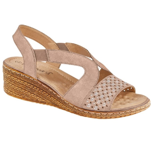 Boulevard Kvinnors / damläder elastisk kil sandal 5 UK Mörkbeige Dark Beige 5 UK