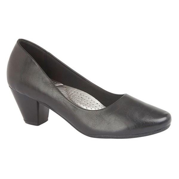 Boulevard PU / läder-skor för damer / dam (45 mm klack) 4 UK Sva Black 4 UK