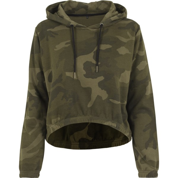 Build Your Brand Camo Cropped Hoodie för damer / damer XL Olive