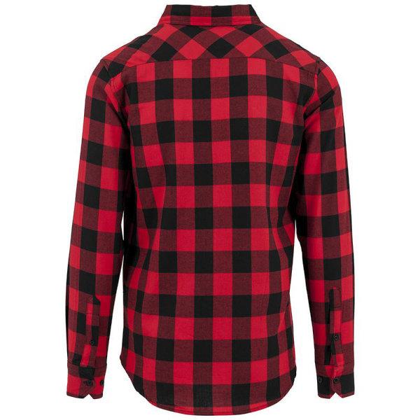 Build Your Brand Herrkontrollerad flanellskjorta L Svart röd