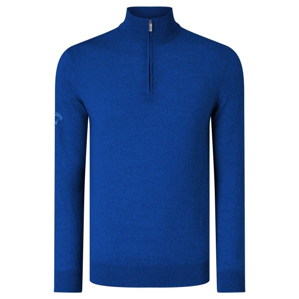 Callaway Herr Ribbed Zip Merino Sweater S Surfa blå