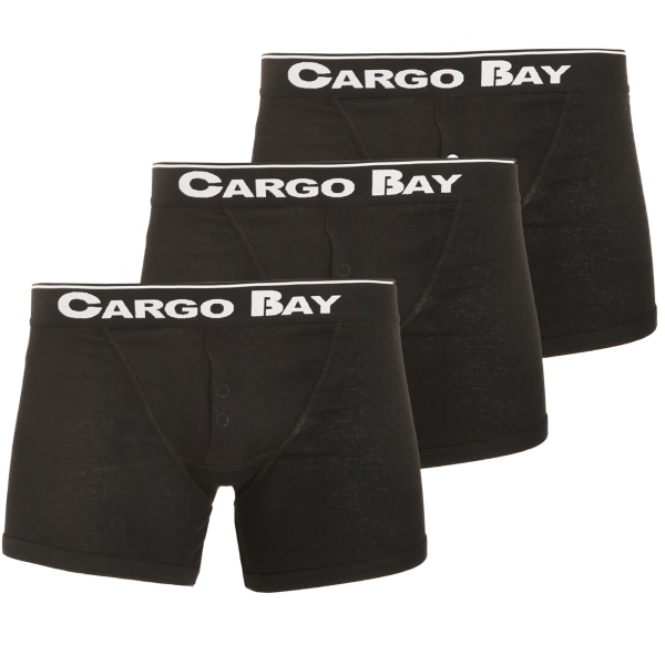 Cargo Bay Mens Button Fly Boxers (paket med 3) S Svart