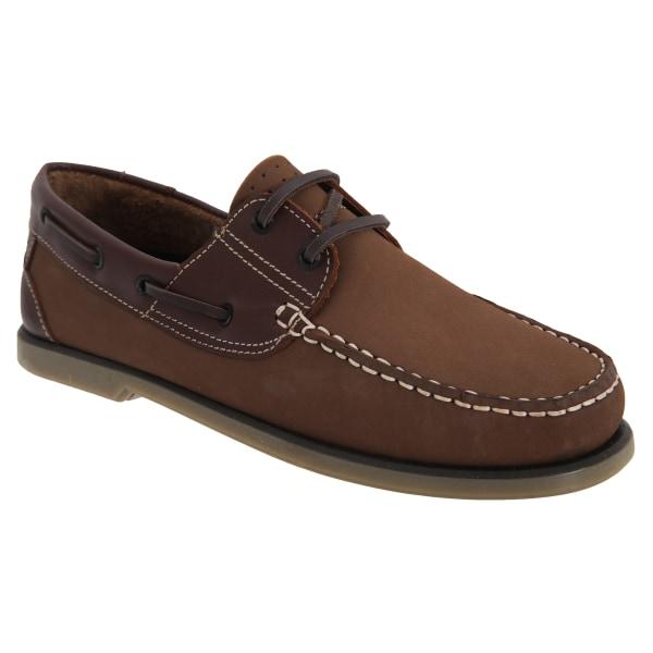 Dek Herr Moccasin Boat Shoes 10 UK Brun nubuck / läder BrownNubuck/Leather 10 UK