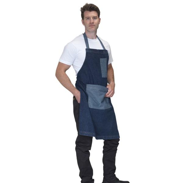 Dennys Tvättad denim Contast förkläde One Size Rå blå denim