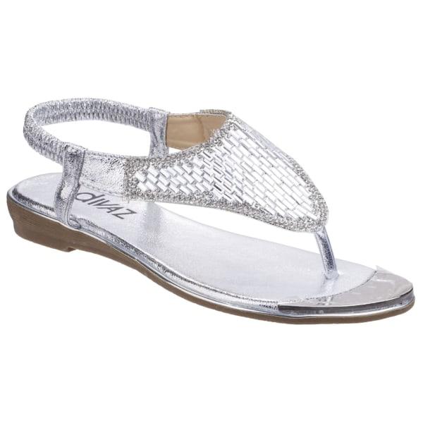 Divaz Kvinnor / damer Kirsty Toe Post Sandaler 5 UK Silver
