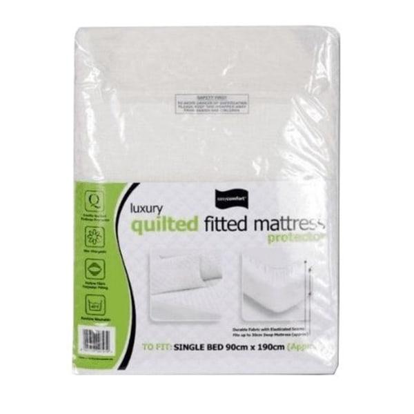 Easy Comfort Enkelsäng quiltad utrustad madrassskydd (paket med