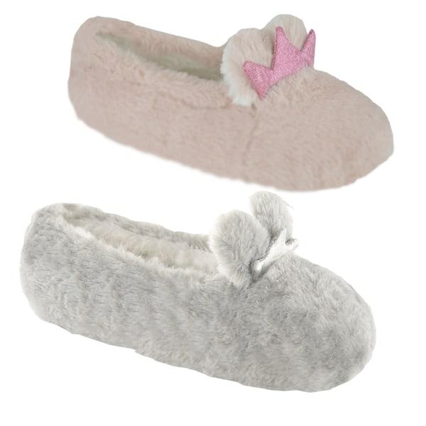 Flickor Bunny Crown balett tofflor 11-12 UK Child Grå