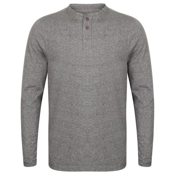 Front Row Herr tvättad långärmad Henley T-shirt XXL Charcoal Mar