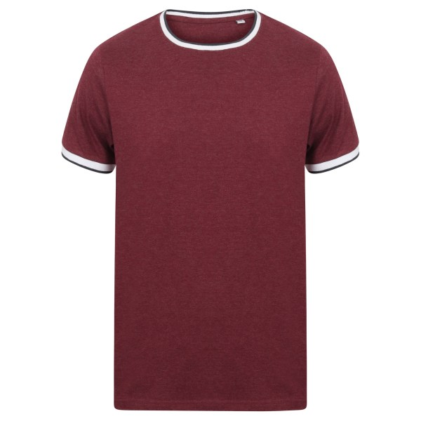 Front Row Mens Tag Free Tipped Tee XXL Bourgogne marl / vit