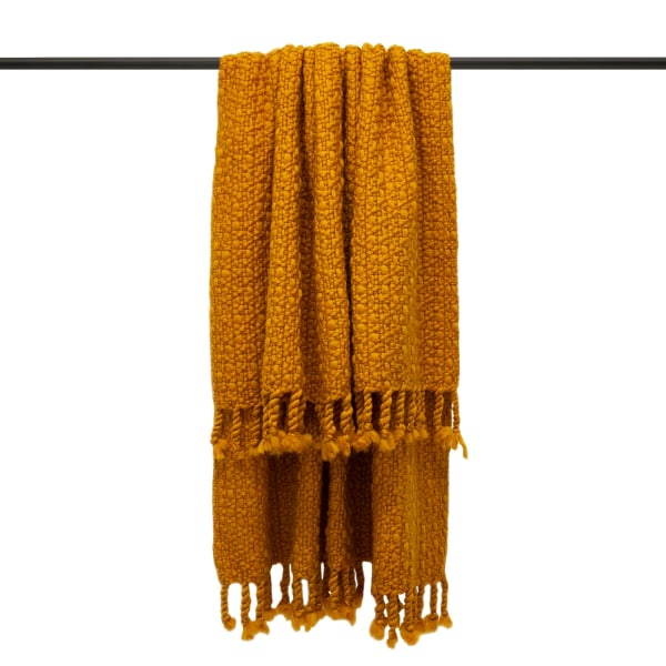 Furn Jocelyn Chunky Knit Throw One Size Senap