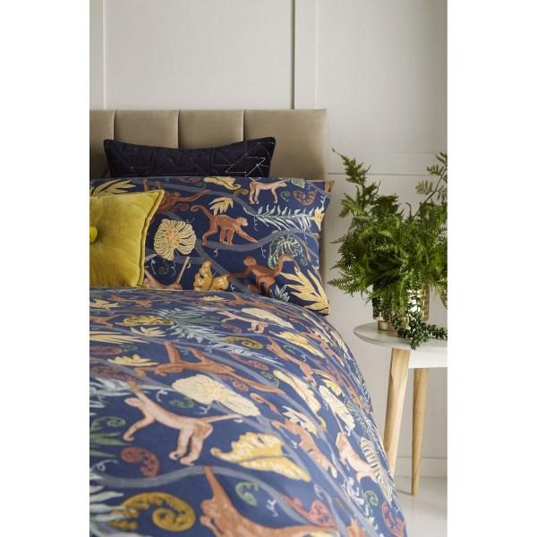 Furn Monkey Forest Duvet Cover Set Double Midnattsblå