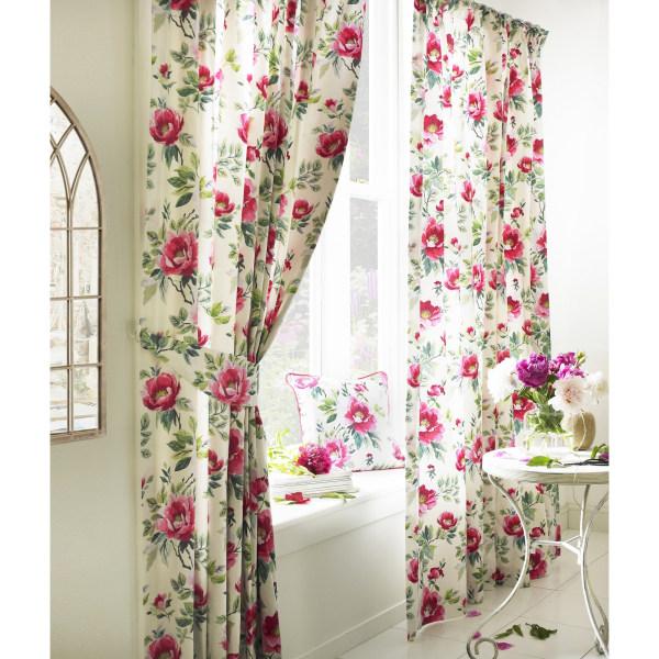 Furn Peony vibrerande färgade blommig veck gardiner 229cm x 183c