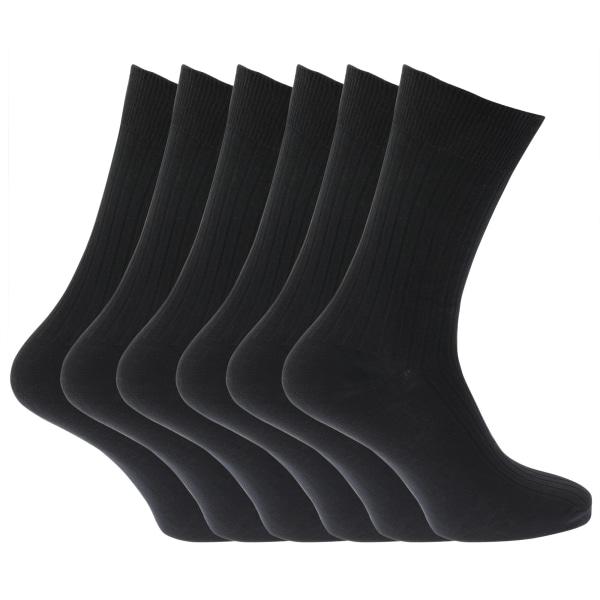 Herr 100% bomullsribbor klassiska strumpor (paket med 6) UK Shoe