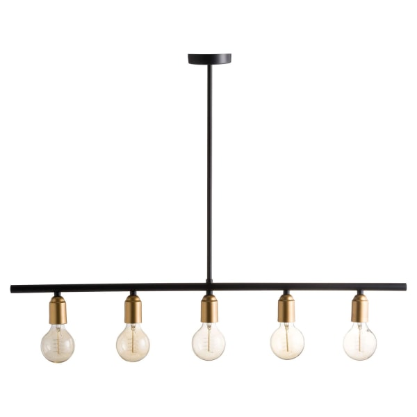 Hill Interiors Black and Messing Industrial Five Bulb Bar Light