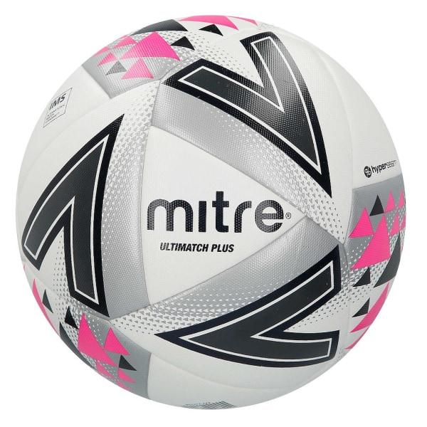 Mitre Ultimatch Plus Matchfotboll 4 Vit / Silver / Rosa