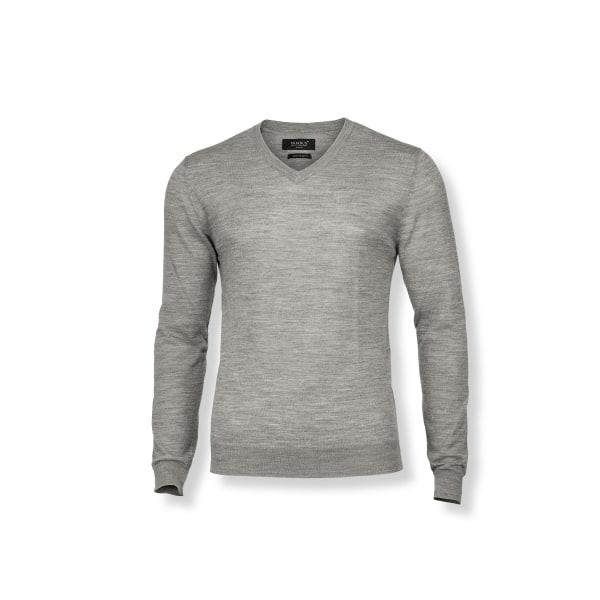 Nimbus Ashbury Stickad V-ringad tröja för män XL grå melange