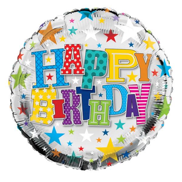 Simon Elvin 18 inch Happy Birthday Starry Round Foil Balloon One