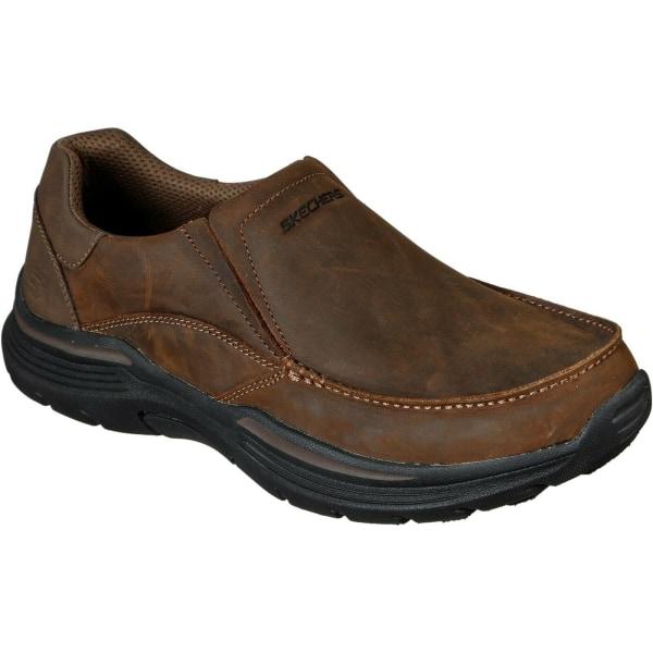 Skechers Herr Helano Läder Loafers 7 UK Brun