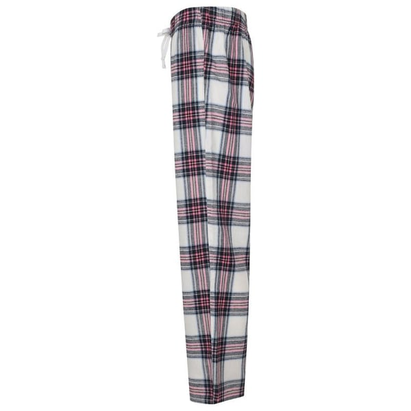 Skinnifit Tartan Lounge Pants för damer / damer S Vit / rosa rutig