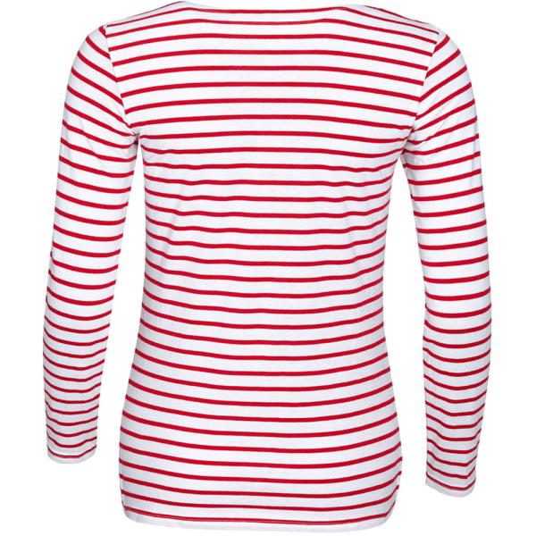 SOLS Dam / långärmad randig T-shirt för damer / dam XXL Vit röd