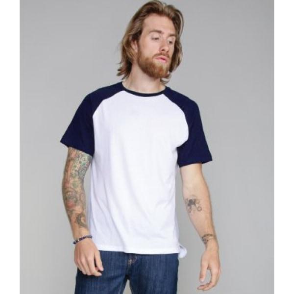Superstar By Mantis Kontrast Baseball T-shirt för män XL Ren vit