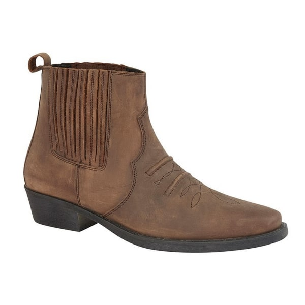 Woodland Män Distressed Leather Gusset Western Ankle Boots 12 UK Greasy Brown 12 UK