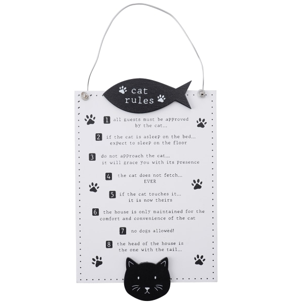 Woofs & Whiskers Kattregler tecken One Size Vit svart