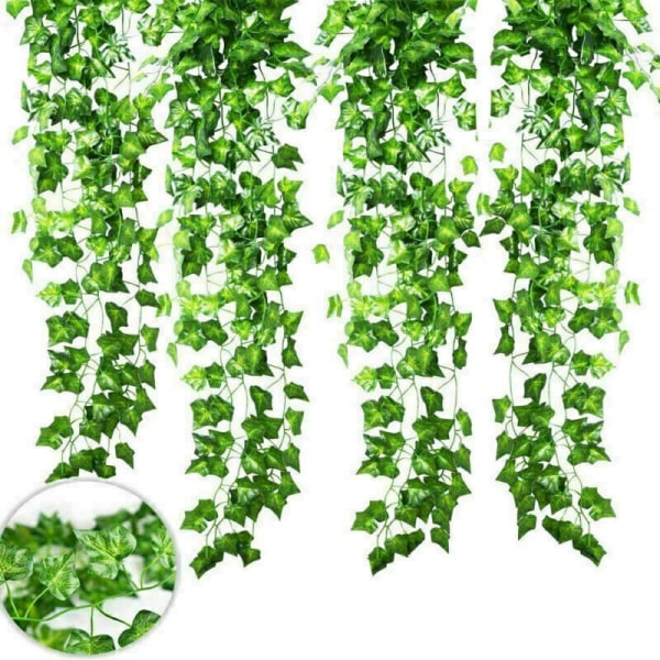 12PCS konstgjorda gröna bladkransplantor gröna heminredning green