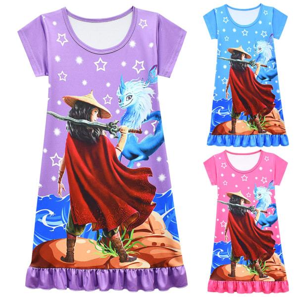 Flicka sommar Raya och The Last Dragon klänning med korta ärmar Purple 7-8Years