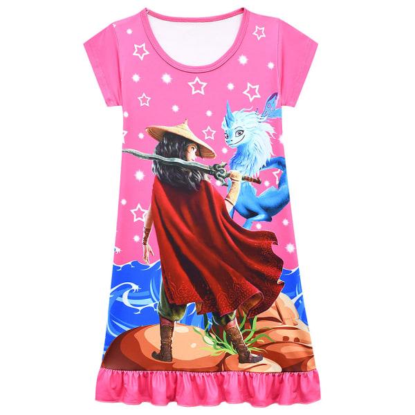 Flicka sommar Raya och The Last Dragon klänning med korta ärmar Rose Red 8-9Years