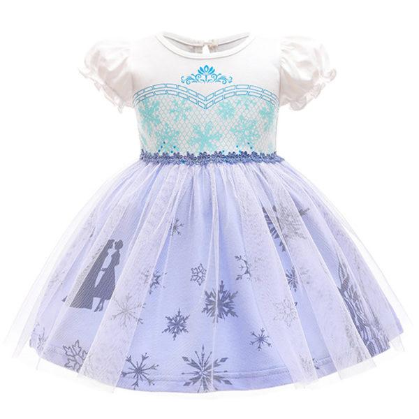 Flicka sommar tryck klänning kort puffärm fryst prinsessa Aisha 3-4Y