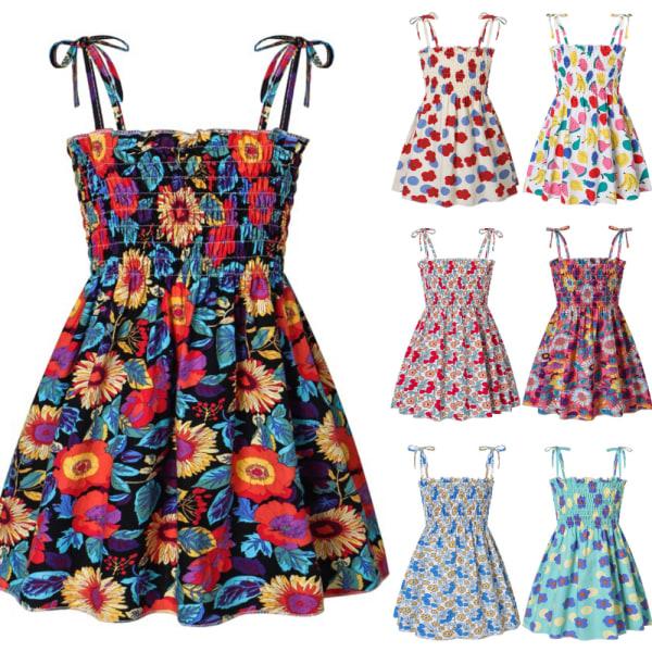 Flicka sommar västlig stil casual prinsessan tryck hängslen klänning D 130cm