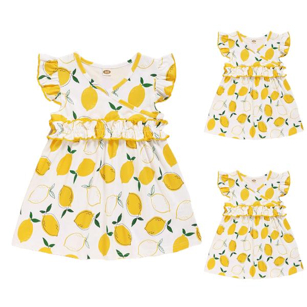 Flickor sommar mode söt citron tryck flygande ärm klänning Yellow 18-24 M
