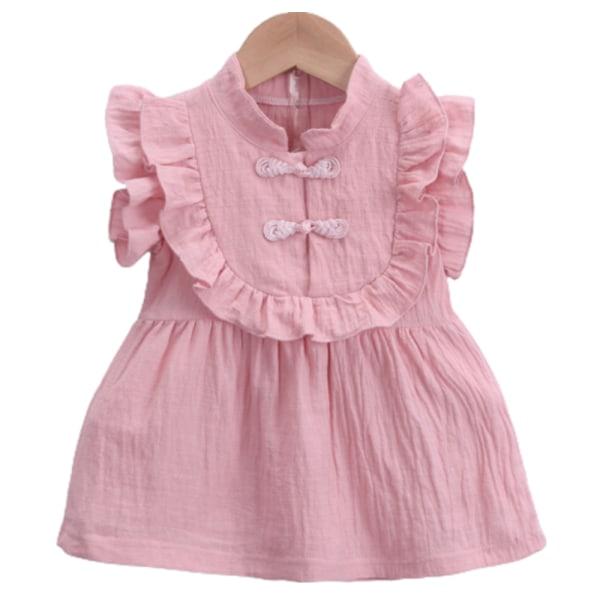 Flickor sommar västlig stil casual prinsessan båge ärmlös kjol pink 110cm
